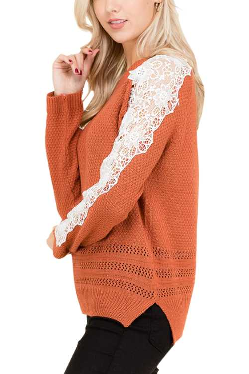 Pullover Knit Sweater With Ribbon Hem