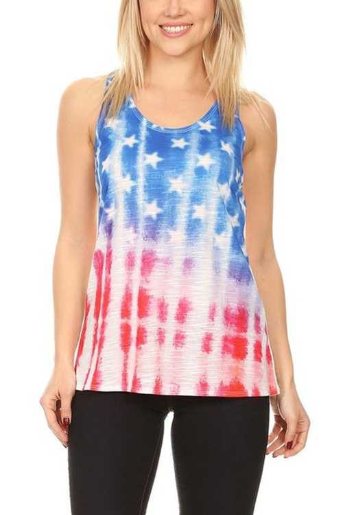 Sleeveless American Flag Graphic Top