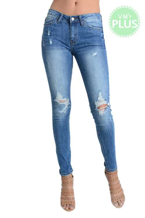 Low-rise Distressed Knee Super Skinny Jeans PLUS