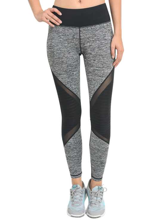Marled Color-block Active Leggings With Mesh Detail