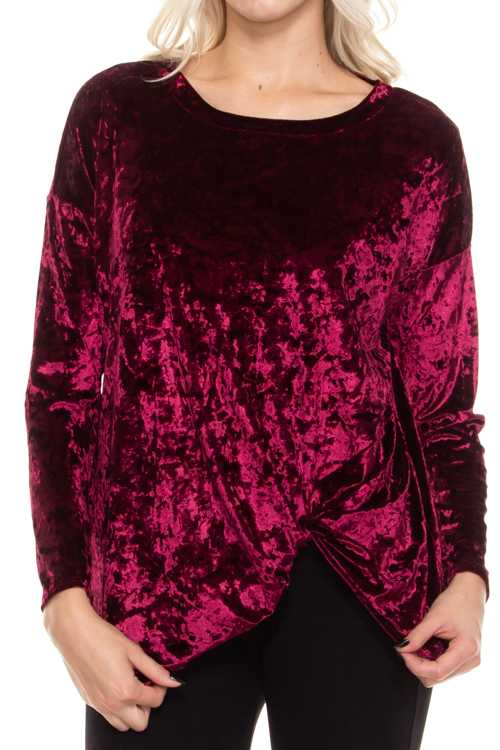 Crushed Velvet Long Sleeve Top With Side Twist