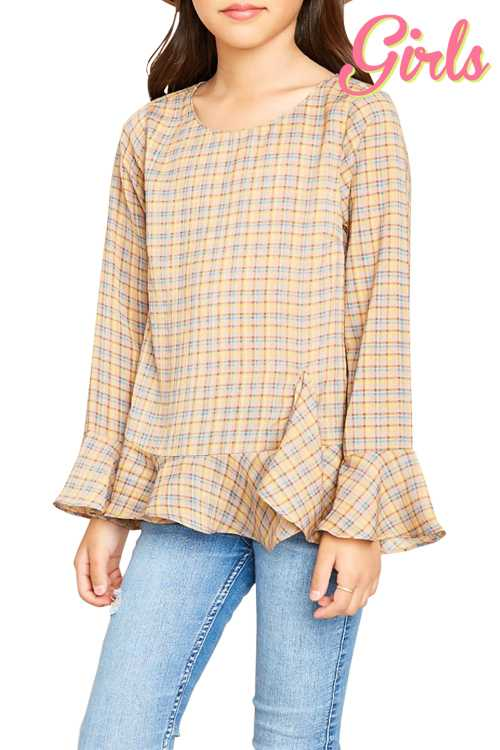 Plaid Bell Sleeve Top GIRLS