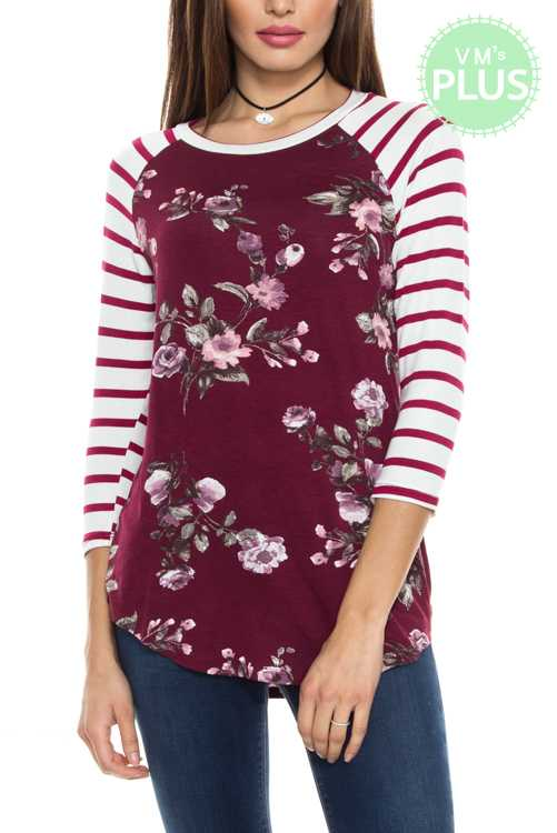 Striped And Flora Print Raglan Top PLUS