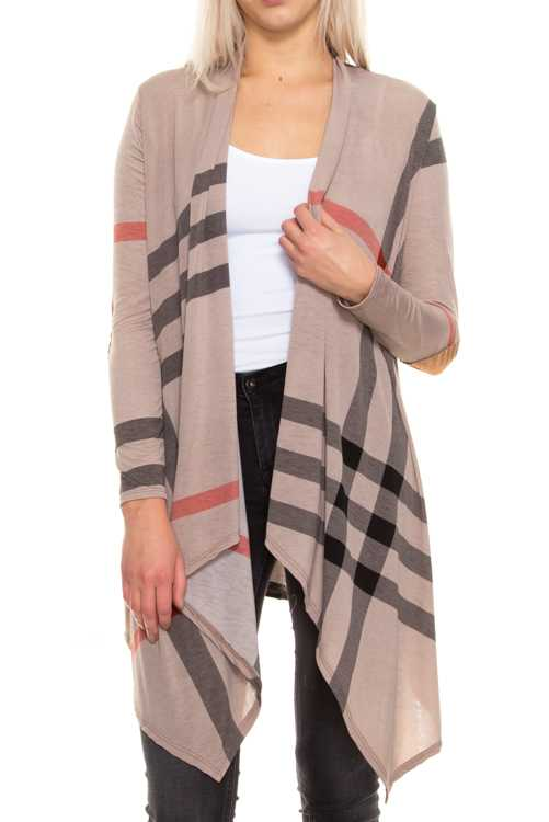 Plaid Print Cardigan With Patched Elbows