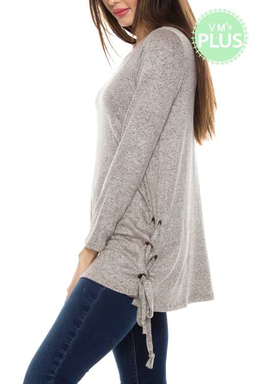 Marled Lace-up Sides Knit Top PLUS