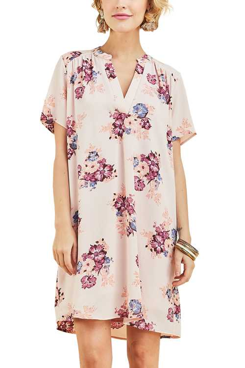 Floral Print V-neckline Shift Dress