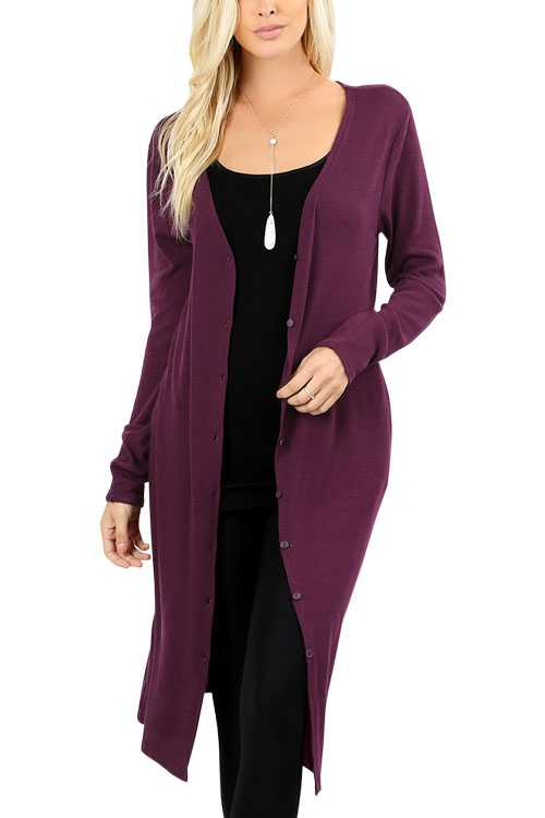 Button-down Long-line Cardigan