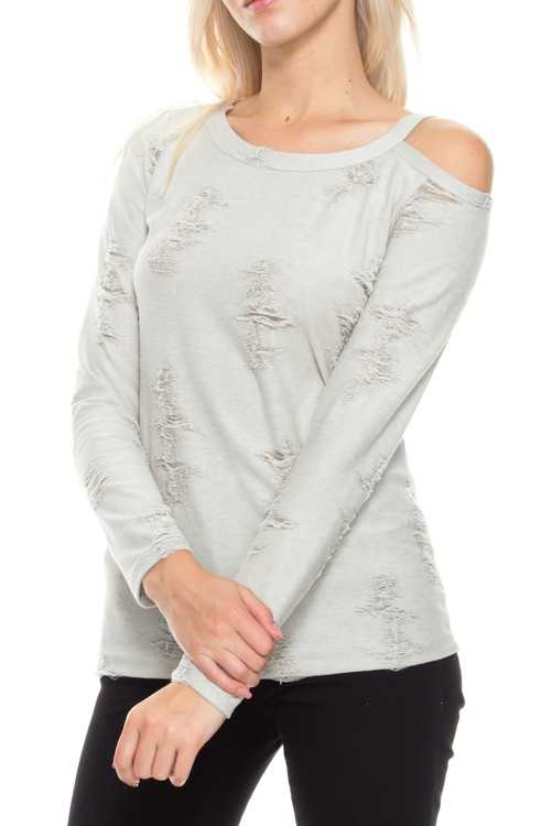 One Open Shoulder Distress Long Sleeve Knit Top