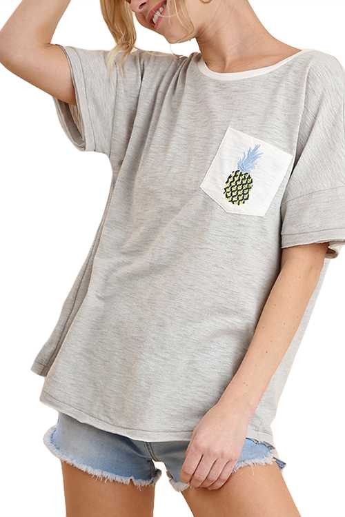 Short Sleeve Top With Pineapple Embroidered Chest Pocket