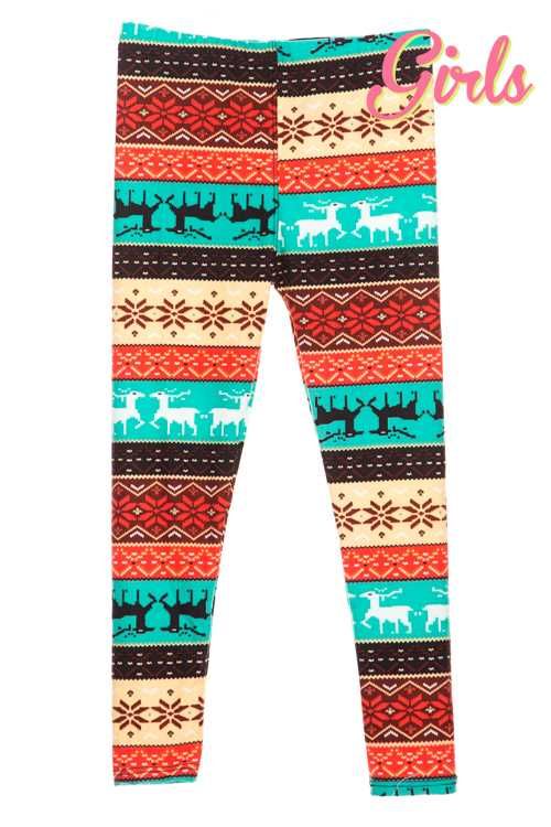 Reindeer Fair Isle Print Leggings GIRLS