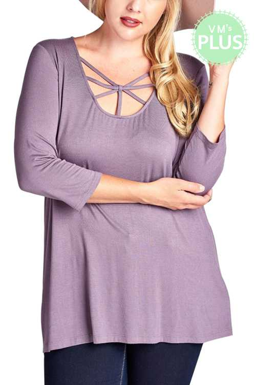 Caged Scoop Neck Solid Jersey Knit Loose Fit Top PLUS
