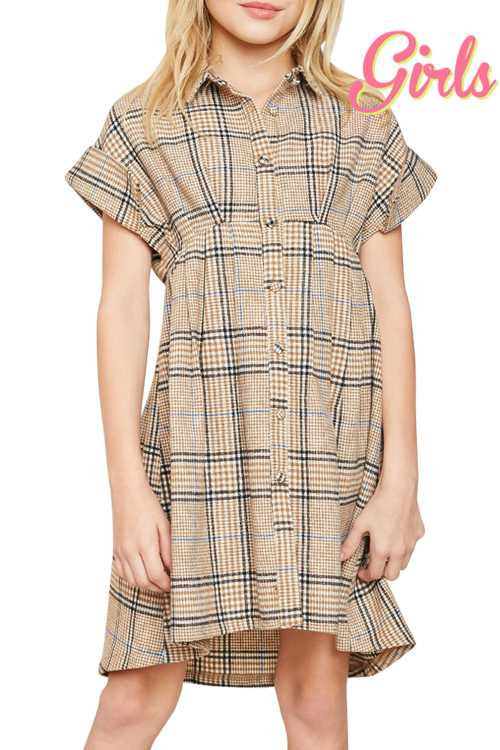 Plaid Print Fit And Flare Dress GIRLS