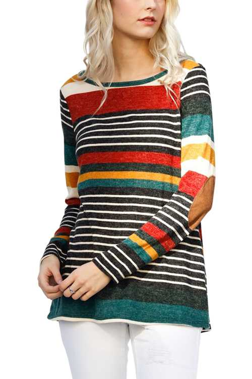 Multi Color Stripe Top With Elbow Patches