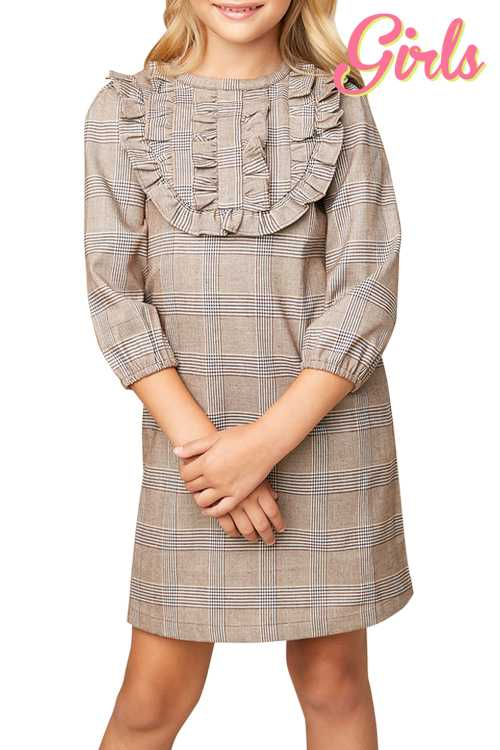 Plaid Tunic Dress With Pockets GIRLS