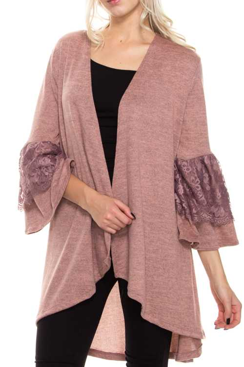 3/4 Bell Lace Detail Sleeves Open Cardigan
