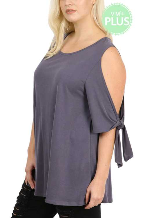Solid Self Tie Open Sleeves Tunic Top PLUS