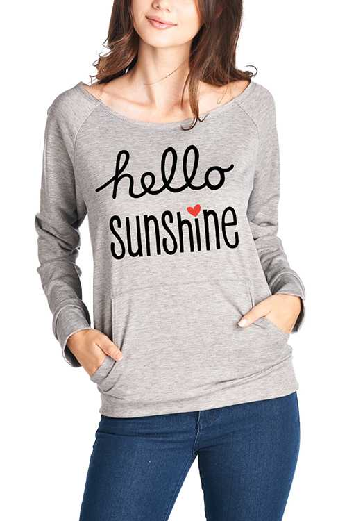 HELLO SUNSHINE Long Sleeve Graphic Top With Kangaroo Pocket