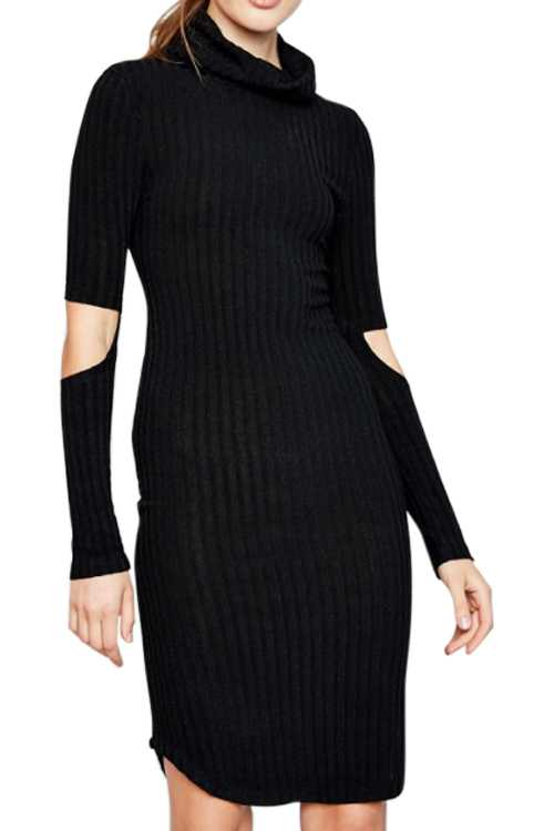 Turtle Neck Fitted Ribbed Knit Dress With Cutout Elbows