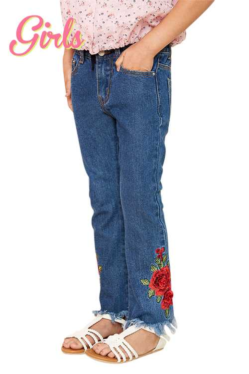 Rose Embroidered Patch Detail Jeans GIRLS