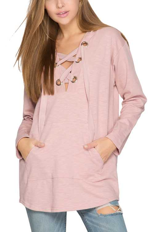 Long Sleeve Hooded Top With Lace-up Eyelet And Kangaroo Pocket