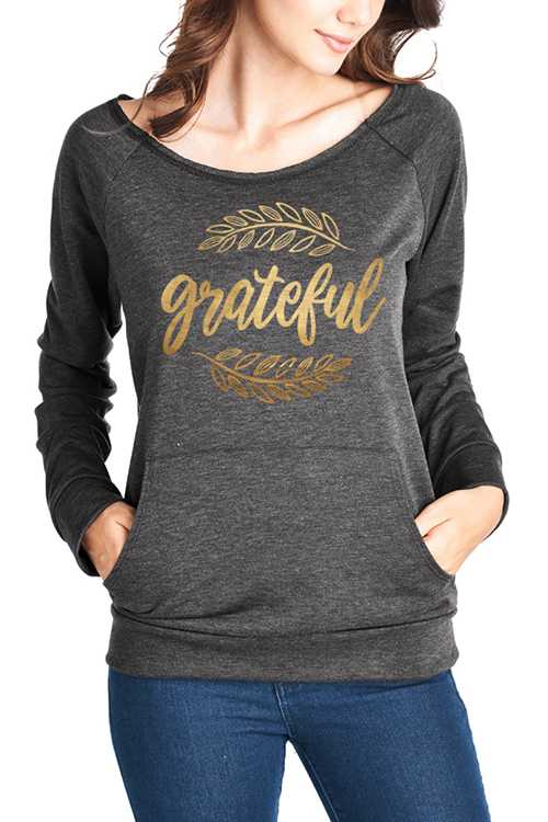 Grateful Printed Long Sleeve Top