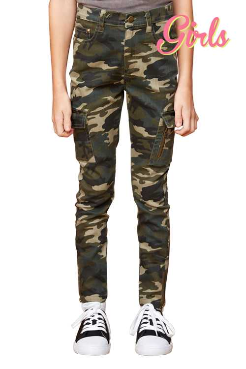 Camo Print Jeggings With Pockets GIRLS
