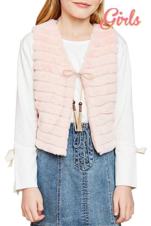 Faux Fur Vest With Self Tie Detail GIRLS