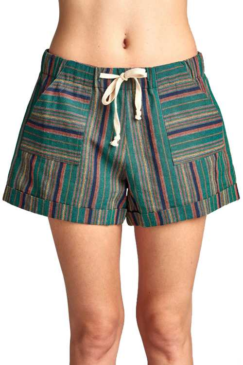 Multi Color Jacquard Shorts With Patch Pockets