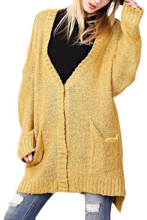 Loose Fit Over Size Knit Sweater Cardigan