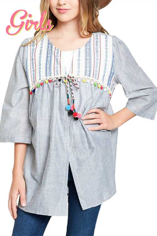 Pom Pom Detail Printed Cardigan GIRLS