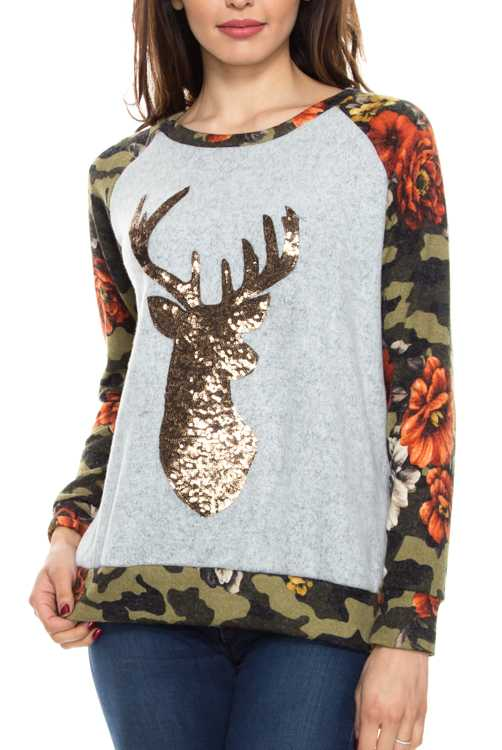 Camouflage Floral Print Contrast Sequin Patch Detail Sweater