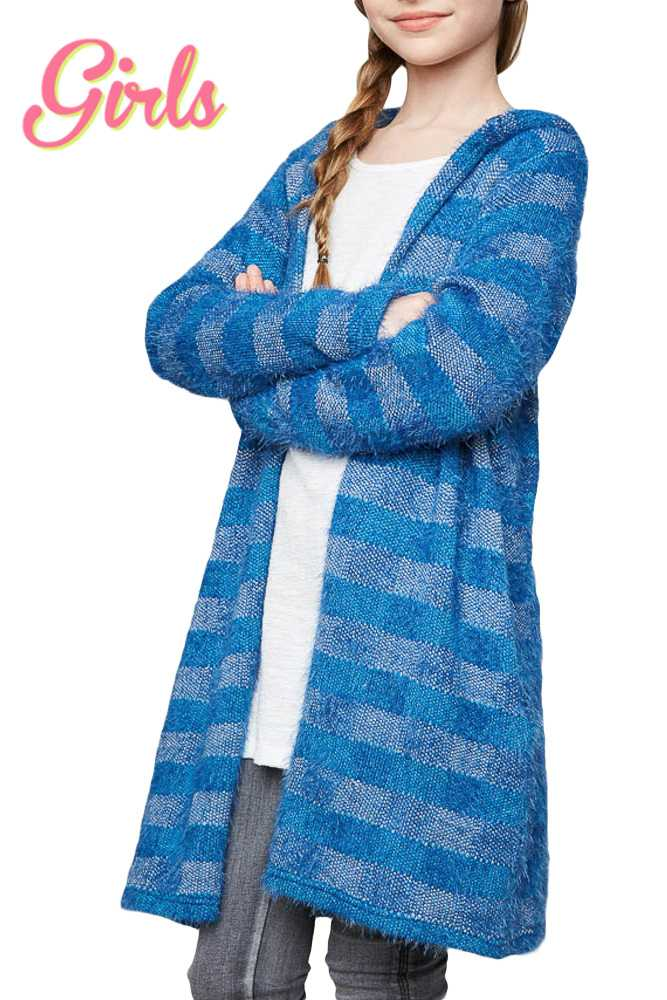 Fuzzy Striped Hooded Cardigan GIRLS