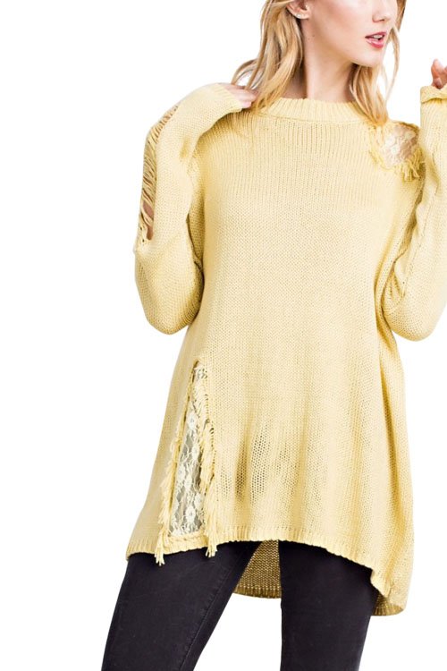 Long Sleeve Contrast Lace Detail Loose Fit Tunic Sweater