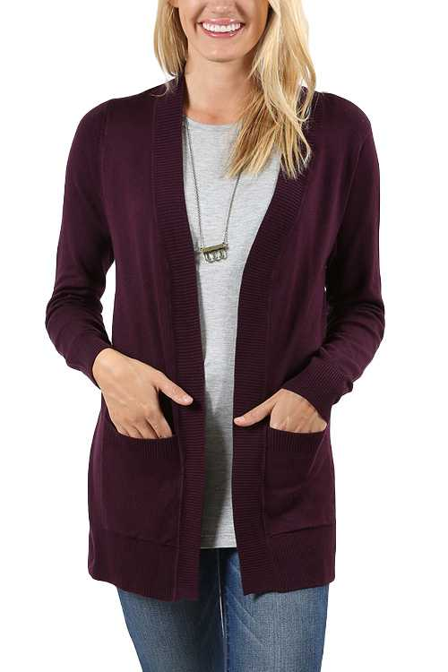 Open-front Knit Cardigan With Pockets