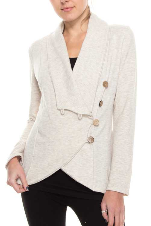 Fleece Lined Side Button-up Detail Jacket