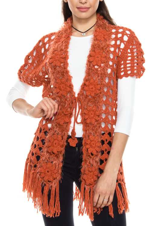 Crochet Knit Self Tie Cardigan With Fringe Hem