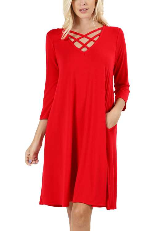 3/4 Sleeve Crisscross Neck Dress With Side Pockets