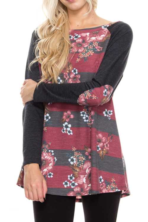 Stripe Floral Print Mix With Elbow Patches Knit Top