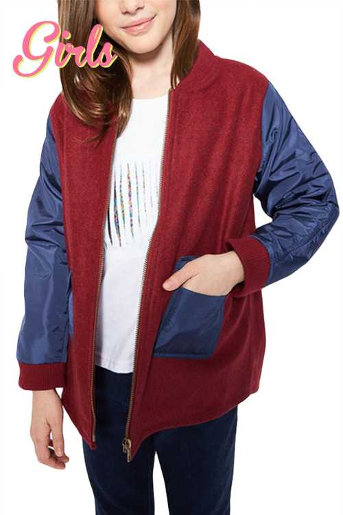 Color Block Contrast Jacket With Pockets GIRLS
