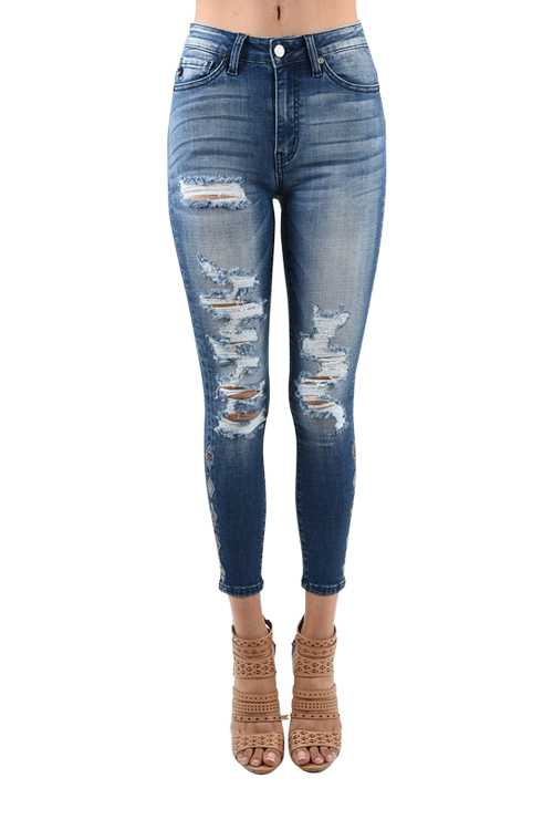 High Rise Washed Out Distressed Skinny Ankle Jeans