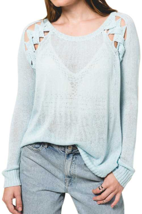 Knit Sweater Top With Cutout Details