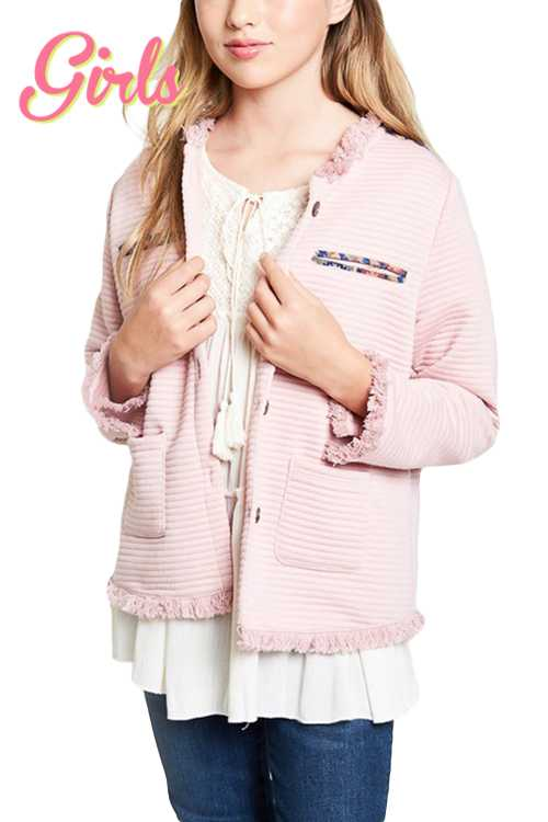 Quilted Jacket With Fringe Detail GIRLS