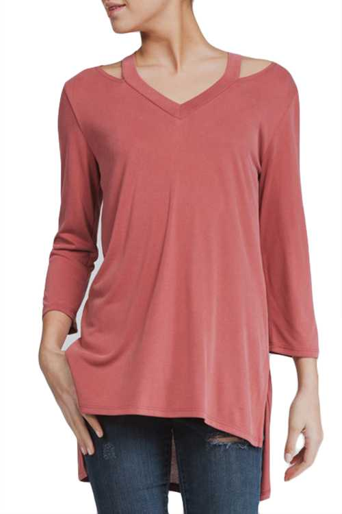 V-neck Cutouts Detail Top With Side Slits