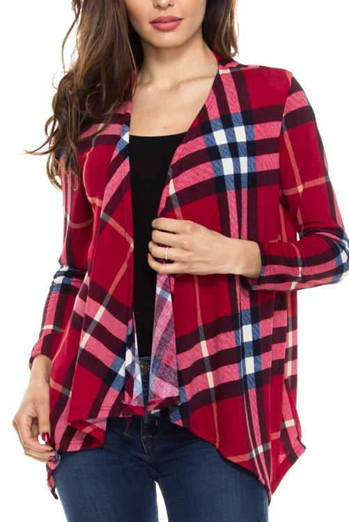 Plaid Print Knit Cardigan
