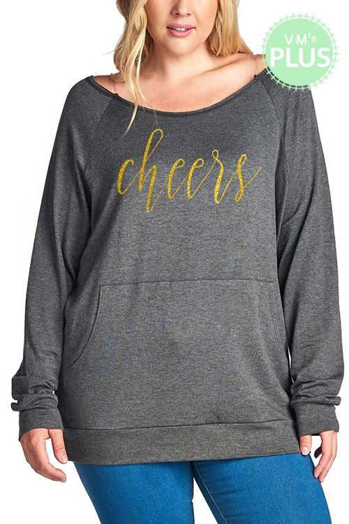 Cheers Graphic Long Sleeve Pocket Detail Top PLUS