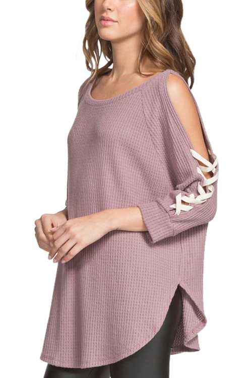 Brushed Thermal Knit Top With Open Crisscross Sleeves Detail