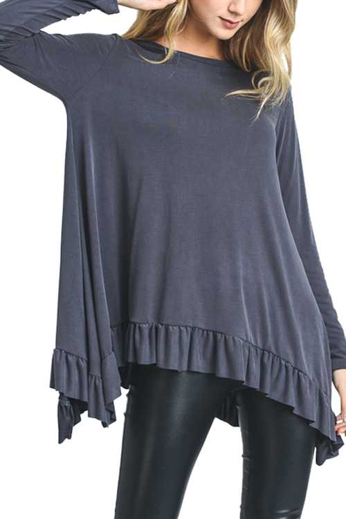 Solid Long Sleeve Top With Ruffled Hem