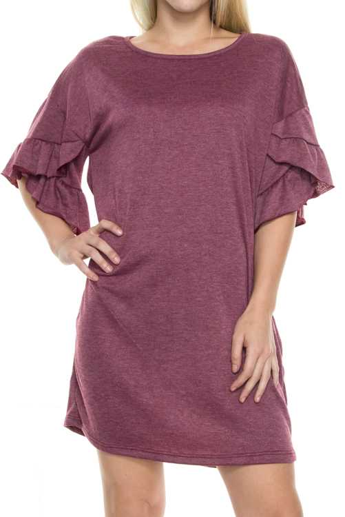 French Terry Double Layer Ruffle Sleeve Tunic Dress
