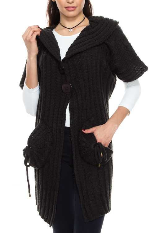 Crochet Knit Snap Button Cardigan With Pockets