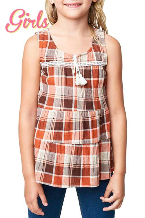 Plaid Print Tiered Top With Tassel-ties GIRLS